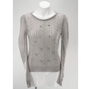 Athropologie Pins and Needles Mohair Pom Sweater